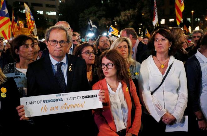 El presidente de la Generalitat, Quim Torra, ayer, en una...