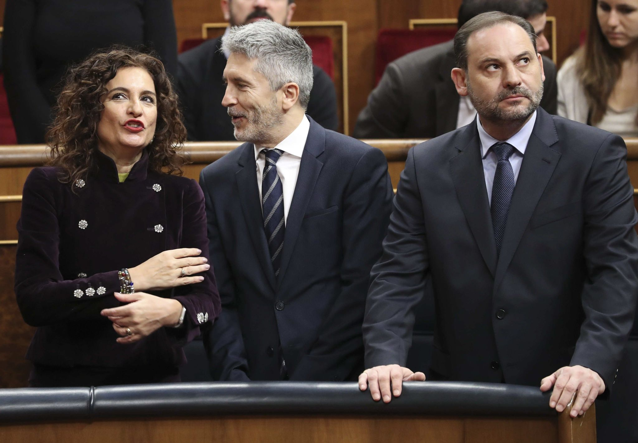 La ministra de Hacienda, María Jesús Montero, el ministro de Interior, Fernando Grande Marlaska, y el responsable de Fomento, José Luis Ábalos.