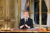 El presidente francés, Emmanuel Macron, durante su discurso...