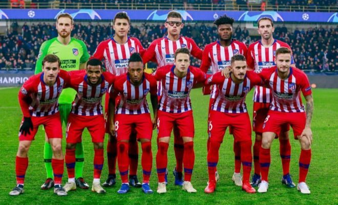 El equipo inicial del Atlético, el martes en el Jan Breydel de Brujas.