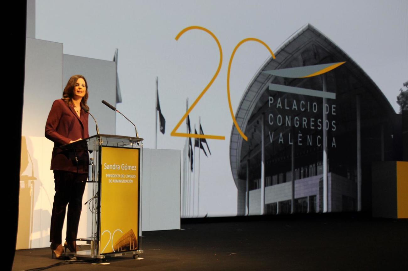 La teniente alcalde de Valencia, Sandra Gómez, durante el acto...