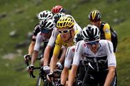 Miembros del equipo Sky, durante una etapa del último Tour.
