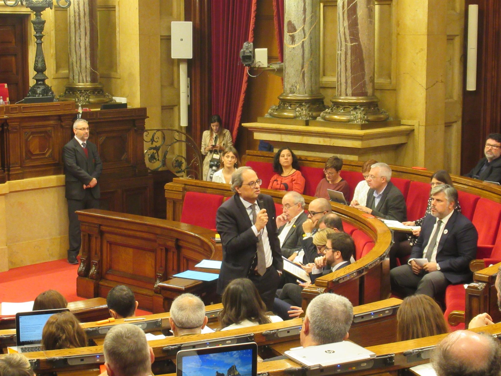 El presidente de la Generalitat, Quim Torra, en la sesión de control del Parlament