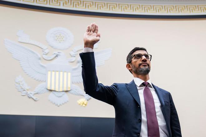 El consejero delegado de Google, Sundar Pichai, comparece ante el comité judicial de la Cámara Baja.