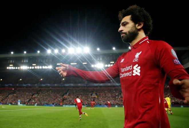 Salah, durante el partido Liverpoo-Nápoles del martes.