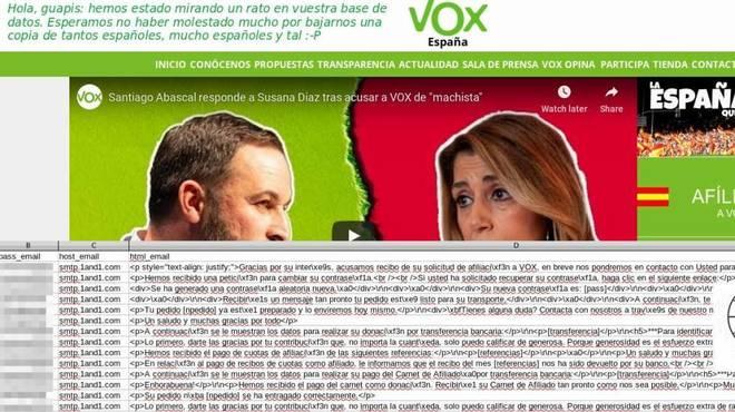Imagen de la página principal de Vox tras el ataque informático de Anonymus.