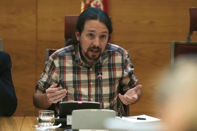 Pablo Iglesias, líder de Podemos, durante su comparecencia en el Senado.