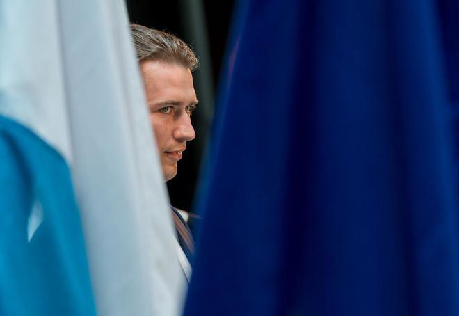 El canciller austriaco, Sebastian Kurz, antes de una rueda de prensa en Múnich.