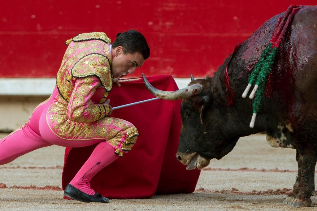 Desplante de Octavio Chacón con un toro de Cebeda en Pamplona en 2018