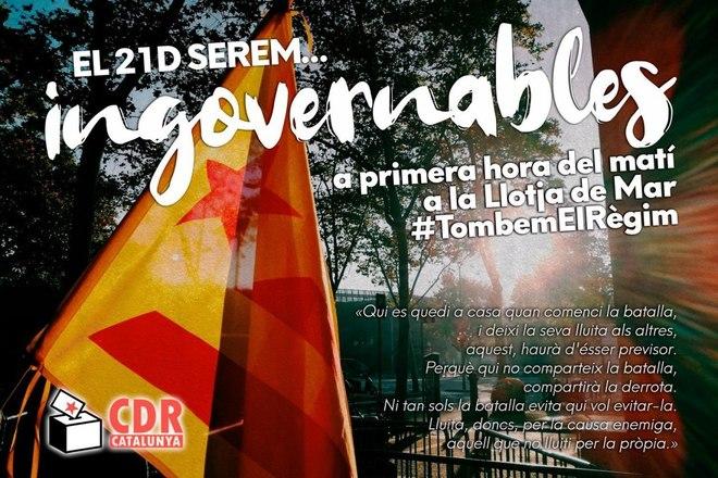 Propaganda de los CDR llamando a la movilización durante el 21-D