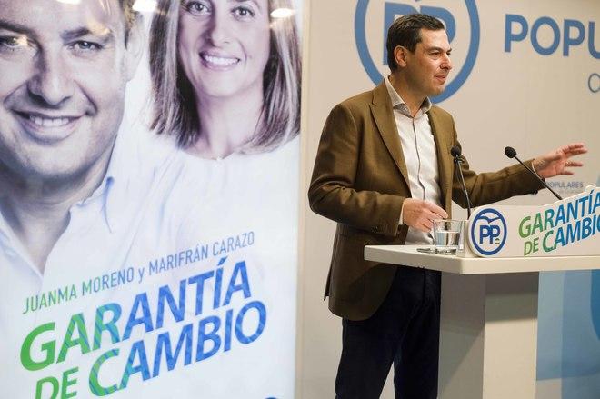 Juanma Moreno, presidente del PP andaluz, en la Junta Directiva del PP de Granada.