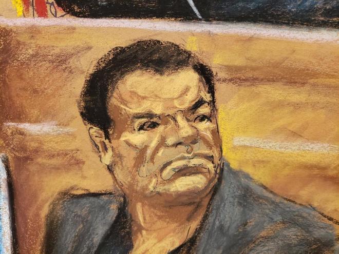 Reproducción fotográfica de un dibujo realizado por la artista Jane Rosenberg donde aparece El Chapo.