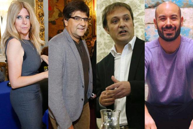 De izquierda a derecha, los  portavoces de PSOE, Guanyar y Compromís, Eva Montesinos, Miguel Ángel Pavón y Natxo Bellido, junto a Xavi López, candidato de Podemos. M,LORENZO /E.M.