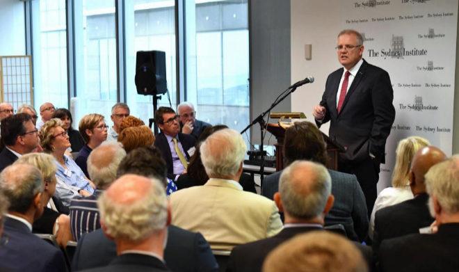 Scott Morrison, primer ministro australiano, en la conferencia en la que ha hecho el anuncio.