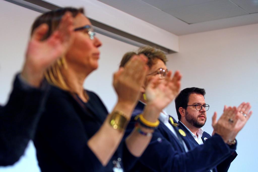 Pere Aragonés tras su intervención en este Consell Nacional de ERC