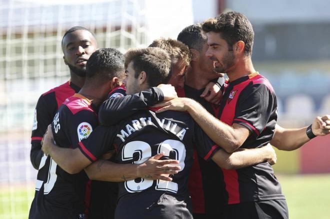 Los jugadores del Reus celebran un gol en un partido de esta temporada.