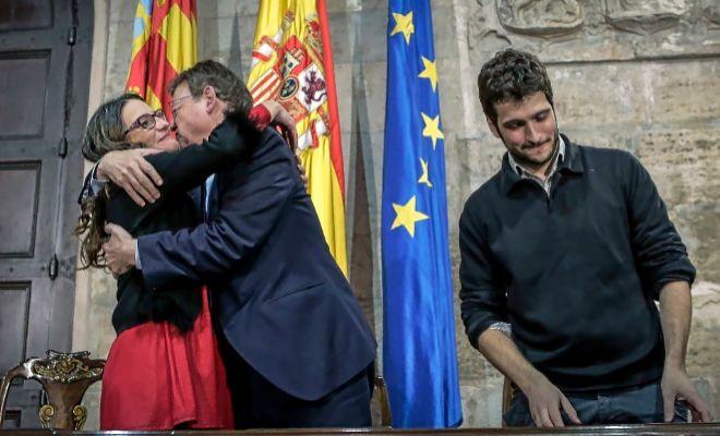 Ximo Puig, Mónica Oltra y Antonio Estañ firman los Presupuestos de la Generalitat de 2019.