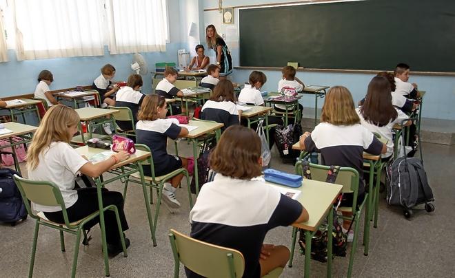 Un aula de primaria de un colegio concertado de Palma.