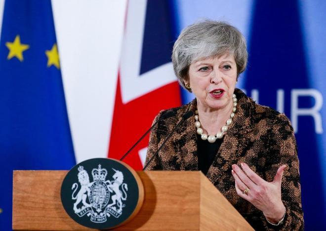 La premier británica en rueda de prensa tras la cumbre de líderes de la UE en Bruselas.