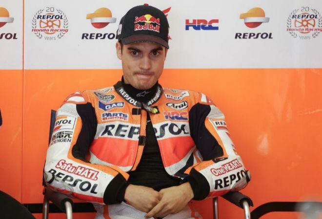 Dani Pedrosa, en el box de Repsol Honda.