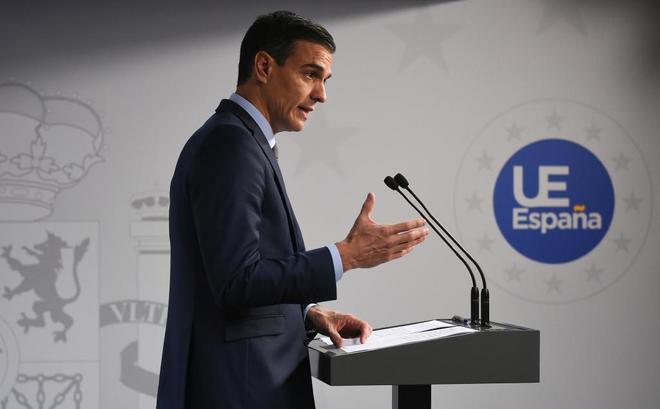 El presidente Pedro Sánchez comparece tras un Consejo Europeo en Bruselas.