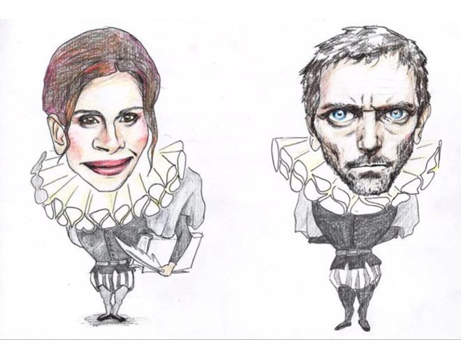 Las caricaturas cervantinas de Julia Roberts y Hugh Laurie que hizo...