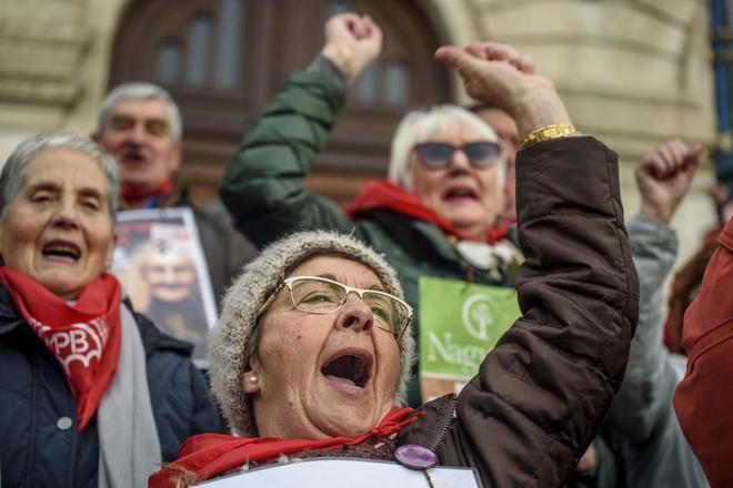 Una manifestación de pensionistas convocada en Bilbao.