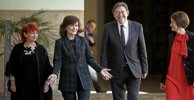 El valenciano, Ximo Puig, uno de los principales barones del PSOE, junto a la vicepresidenta Calvo.