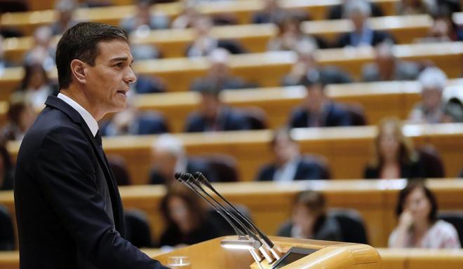 El presidente del Gobierno, Pedro Sánchez, este martes en el Senado.