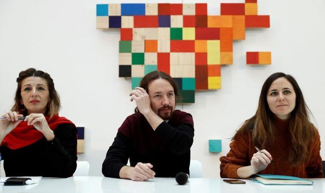Pablo Iglesias, con Yolanda Díaz y ione Belarra este lunes en Madrid.