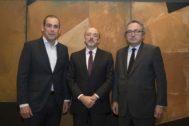 Manuel Mirat, Javier Monzón y Manuel Polanco, responsables del grupo Prisa.