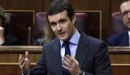 El líder del PP, Pablo Casado, en su escaño del Congreso este...