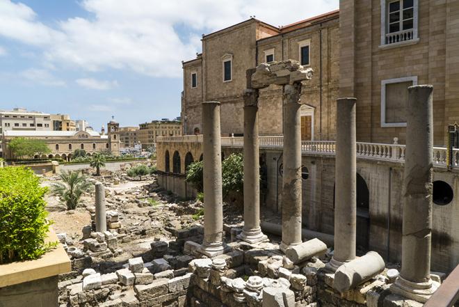 Restos del foro romano, en el centro de Beirut