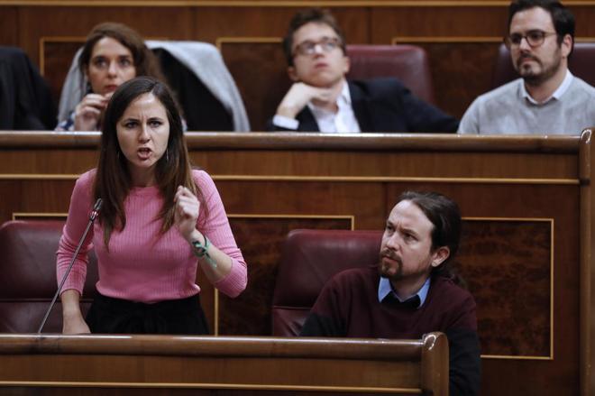 La portavoz de Unidos Podemos Ione Belarra, en un momento de su...