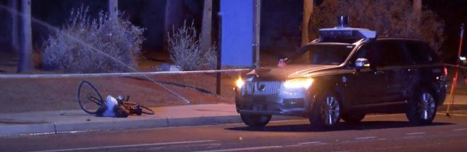 Imagen del Volvo XC90 manipulado por Uber que atropelló en Tempe (Arizona) a una mujer que cruzaba la carretera con su bicicleta, durante una de sus pruebas de taxi autónomo.