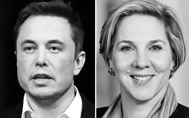 Elons Musk, máximo ejecutivo de Tesla, y Robyn Denholm, presidenta del consejo de administración.