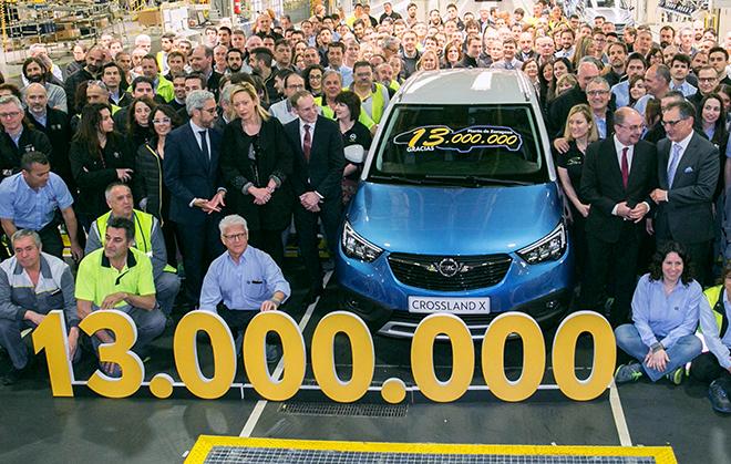 La planta de Opel en Figueruelas alcanzó en abril las 13 millones de unidades fabricadas.