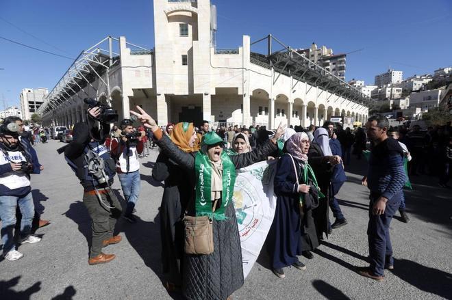 Partidarios del grupo islamista Hamás durante una manifestación en Palestina.