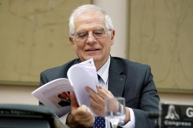 El ministro de Exteriores, Josep Borrell, durante su comparecencia en el Congreso.