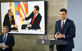 El presidente del Gobierno, Pedro Sánchez, durante una rueda de...