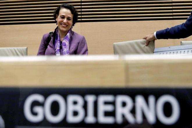 Magdalena Valerio, ministra de Trabajo y Seguridad Social, el miércoles durante su comparecencia en el Congreso.