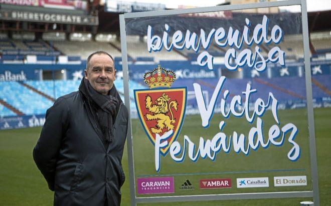 Víctor Fernández,  durante su presentación como técnico del Zaragoza.