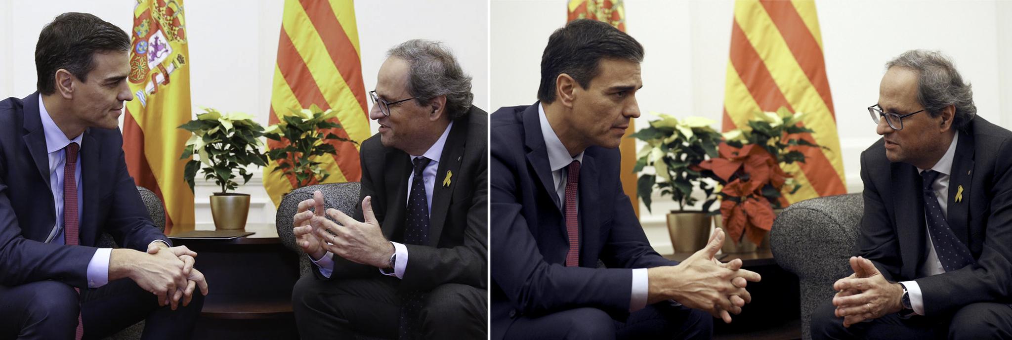 El presidente del Gobierno y el presidente de la Generalitat, con las...