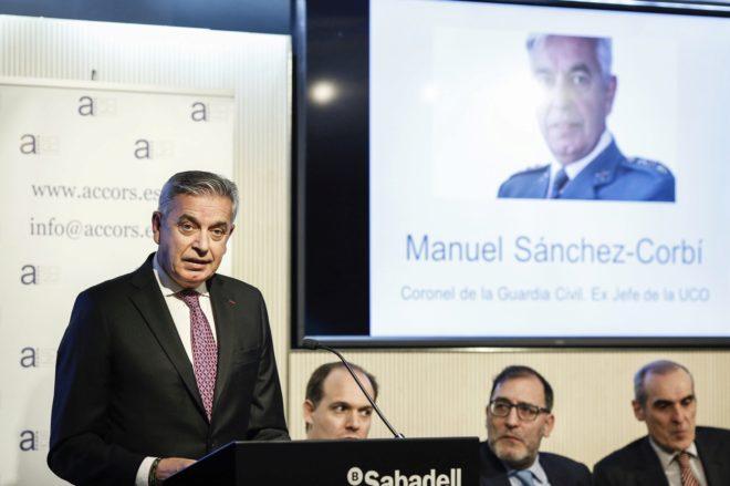 Manuel Sánchez Corbí, en los II Premios Accors contra la corrupción y la regeneración social, ayer en Madrid.