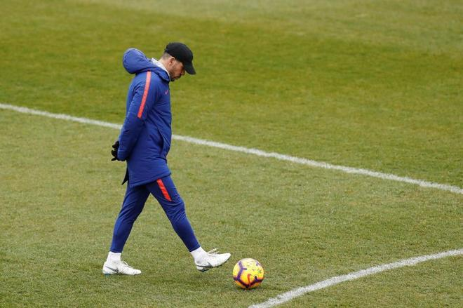 Diego Pablo Simeone, durante el entrenamiento de este viernes.
