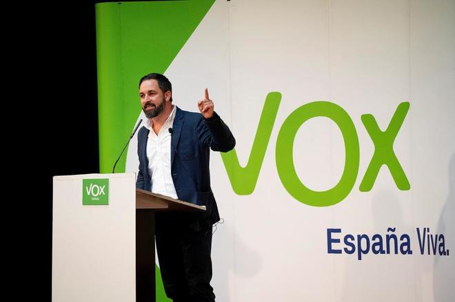 Santiago Abascal, presidente de Vox, durante un mitin en Teruel el...