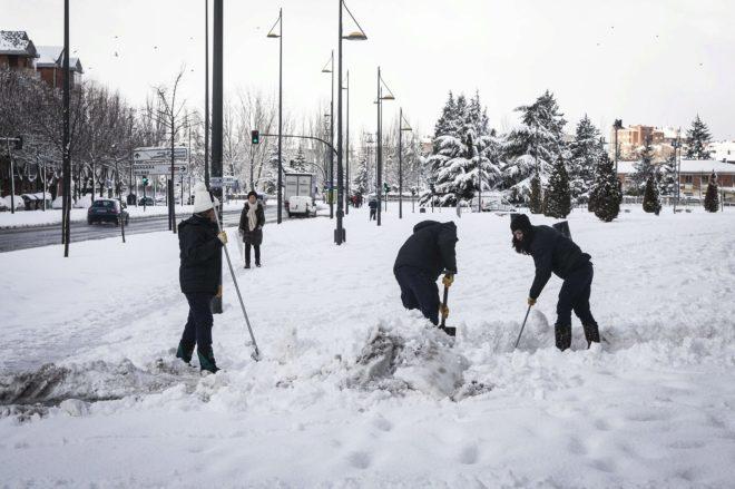 Temporal de nieve en la ciudad de Vitoria en enero del 2015.