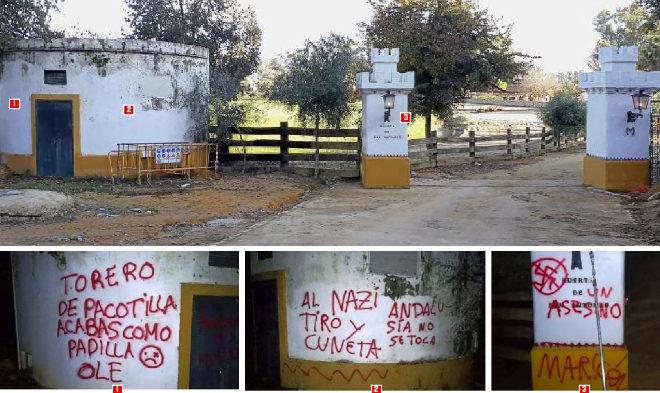 Las pintadas amenazantes y su localización (ver números) en las paredes de entrada a la finca Huerta de San Antonio que el diestro posee en La Puebla del Río, Sevilla. Este miércoles los muros aparecían limpios.
