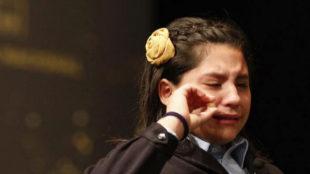 Nerea Pareja llorando en la Lotería de Navidad 2018.
