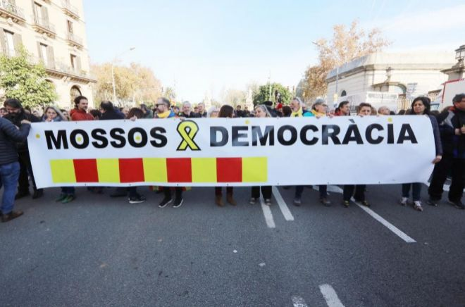 Concentración de Mossos per la Democràcia.